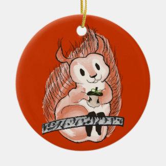 Der Winter: Der Feiertags-Muster des Eichhörnchens Rundes Keramik Ornament