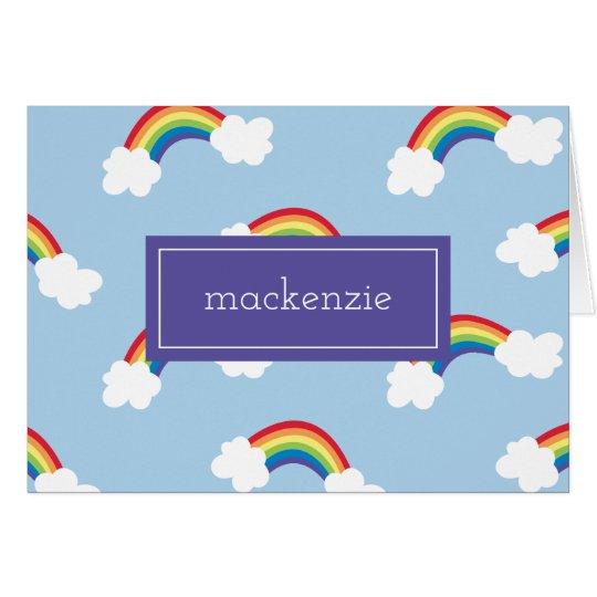 Der wunderliche personalisierte Regenbogen danken Mitteilungskarte