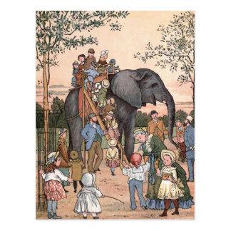 """""""Der Zoo-"""" Vintage Illustration Postkarte"""