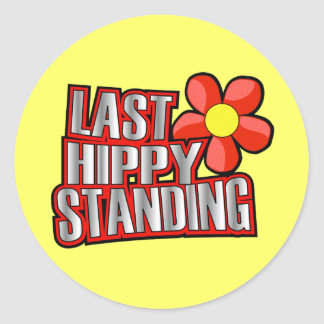 Dernière position de hippie sticker rond