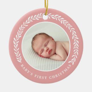 Des Babys erster Weihnachtspfirsich der Keramik Ornament