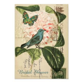 des botanischen Vintages Brautparty Rosen-Vogels Karte