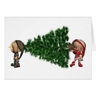 Des elfes de Noël - apportez l'arbre Carte De Vœux