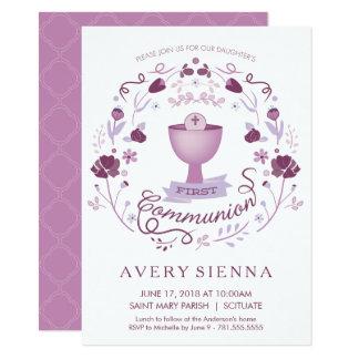 Des ersten heilige Kommunions-Einladungs-Mädchens 11,4 X 15,9 Cm Einladungskarte