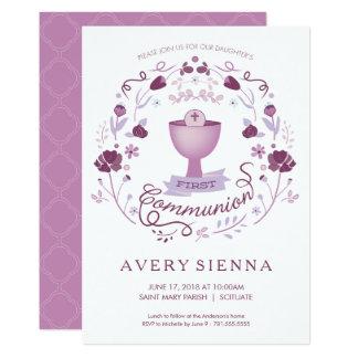 Des ersten heilige Kommunions-Einladungs-Mädchens 12,7 X 17,8 Cm Einladungskarte
