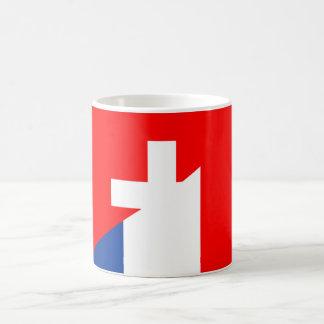 des Flaggenlandes der Schweiz Frankreich halber Kaffeetasse