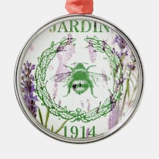 des französischen Vintage Biene Land-Lavendels des Silbernes Ornament