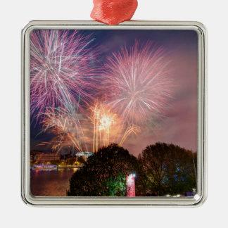 Des Lord Bürgermeisters Fireworks, Southbank Quadratisches Silberfarbenes Ornament
