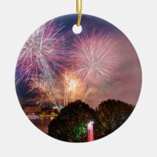 Des Lord Bürgermeisters Fireworks, Southbank Rundes Keramik Ornament
