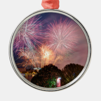 Des Lord Bürgermeisters Fireworks, Southbank Rundes Silberfarbenes Ornament