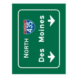Des Moines, IA Verkehrsschild Postkarte