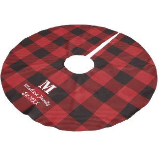 des roten kariertes Monogramm Büffel-Holzfällers Polyester Weihnachtsbaumdecke