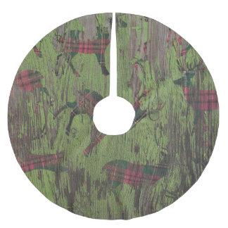 des rustikalen kariertes Weihnachten Rotwild-Grüns Polyester Weihnachtsbaumdecke