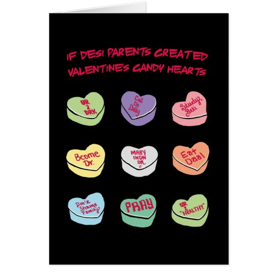 Desi Gesprächs-Süßigkeits-Herzen Karte
