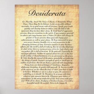 DESIDERATA auf versteinertem hölzernem Papier Poster