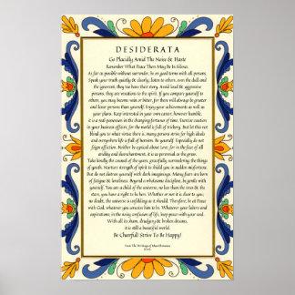 Desiderata in der Kunst-Deko-Blumengrenze Poster