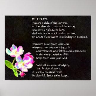 DESIDERATA kosmisches Blütenplakat Poster