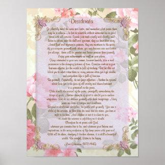"""Desiderata """"wünschten Sachen"""", die Blumen Prosa Poster"""