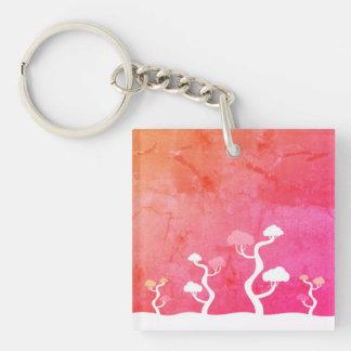 Designer keychain mit Bonsais Einseitiger Quadratischer Acryl Schlüsselanhänger