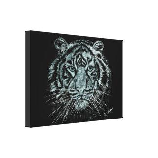 Dessin noir et blanc de tigre sur la toile de