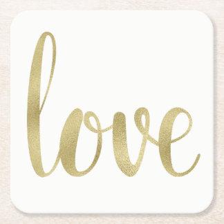 Dessous De Verre Carré Dessous de verre d'amour d'or, jetables, carré