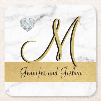 Dessous De Verre Carré Faveurs élégantes de cadeau de mariage de marbre