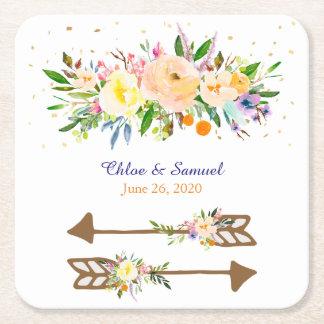Dessous De Verre Carré Mariage de bouquet floral de pêche