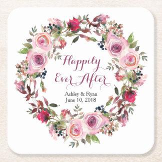 Dessous De Verre Carré Mariage floral de guirlande de rose pourpre de
