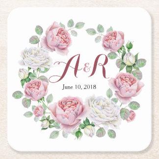 Dessous De Verre Carré Mariage floral de rose rose de monogramme de