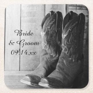 Dessous De Verre Carré Mariage occidental rustique de bottes de cowboy