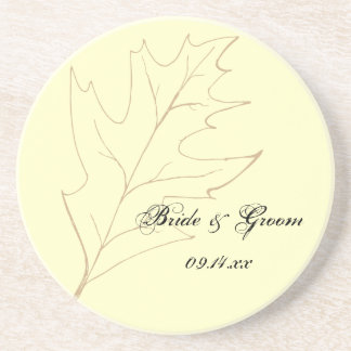 Dessous De Verre En Grès Mariage de feuille de chêne d'automne