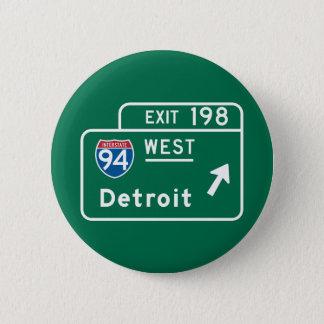 Detroit, MI-Verkehrsschild Runder Button 5,7 Cm