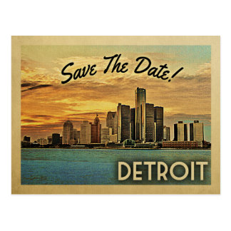 Detroit Save the Date Michigan Postkarte