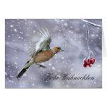 Deutsche Weihnachtskarte mit Chaffinch-Winter Grußkarte
