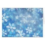 Deutsche Weihnachtskarte mit Schneeflocken Grußkarte