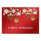 Deutsche Weihnachtsschneeflocken auf Rot Karte