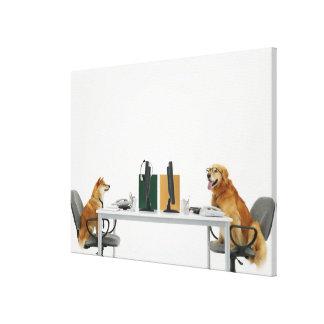 Deux chiens portant la cravate et les lunettes, se toile tendue sur châssis