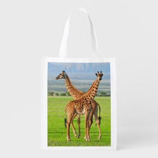 Deux girafes cabas épicerie