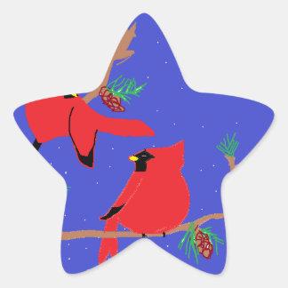 deux oiseaux autocollant en étoile