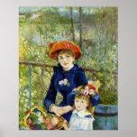 Deux soeurs (sur la terrasse) par Pierre Renoir Poster