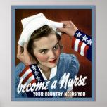 Deviennent une infirmière vintage de ~ d'infirmièr affiche