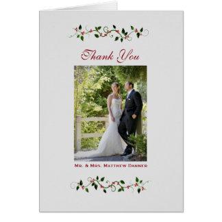 Dezember-Feiertags-Hochzeit danken Ihnen das Mitteilungskarte
