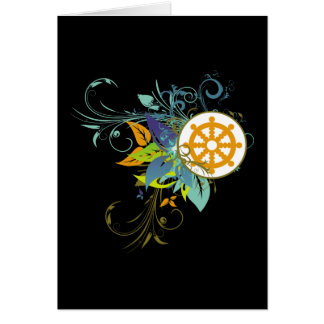 Dharma Rad mit Blumen Karte