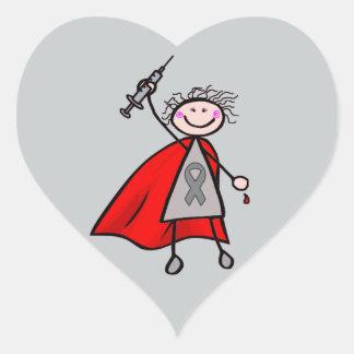 Diabetes-Insulin-Superheld-Mädchen Herz-Aufkleber