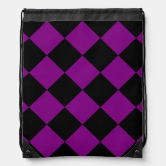Diag Checkered großes - schwarz und lila Turnbeutel