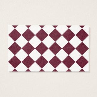 Diag kariert - weißes und dunkles Scharlachrot Visitenkarte