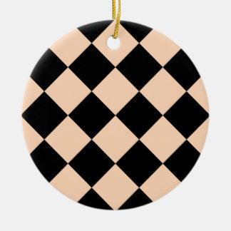 Diag kariertes großes - schwarzer und tiefer rundes keramik ornament