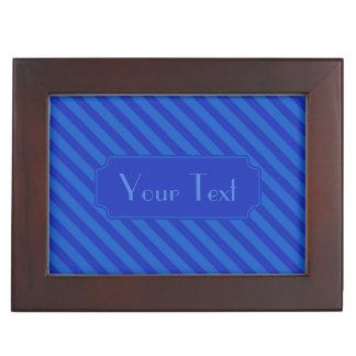 Diagonale dunkle Kobalt blaue Streifen Erinnerungsdose