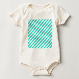 Diagonale Streifen - cyan-blau - Celeste und Baby Strampler