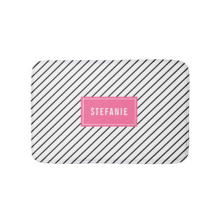 Diagonale Stripes heißes Rosa-personalisierte Badematte